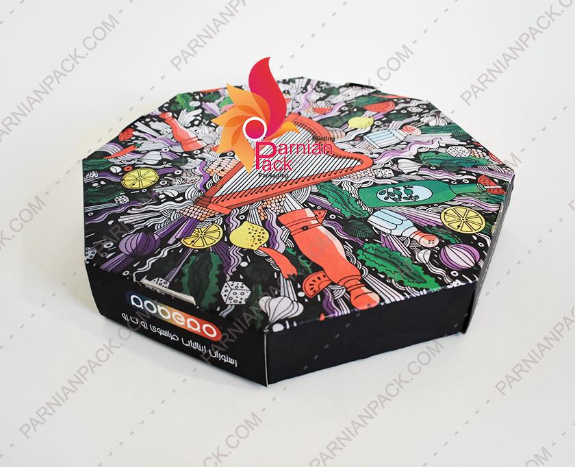 جعبه پیتزا خانواده هشت ضلعی دو تکه